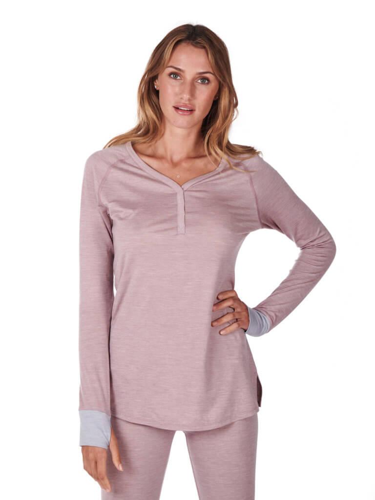 Dagsmejan Women's Stay Warm Sleep Tunic Dusty Pink