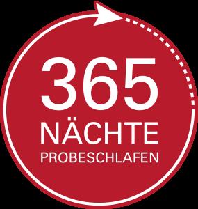 Badge 365 Nächte Probeschlafen