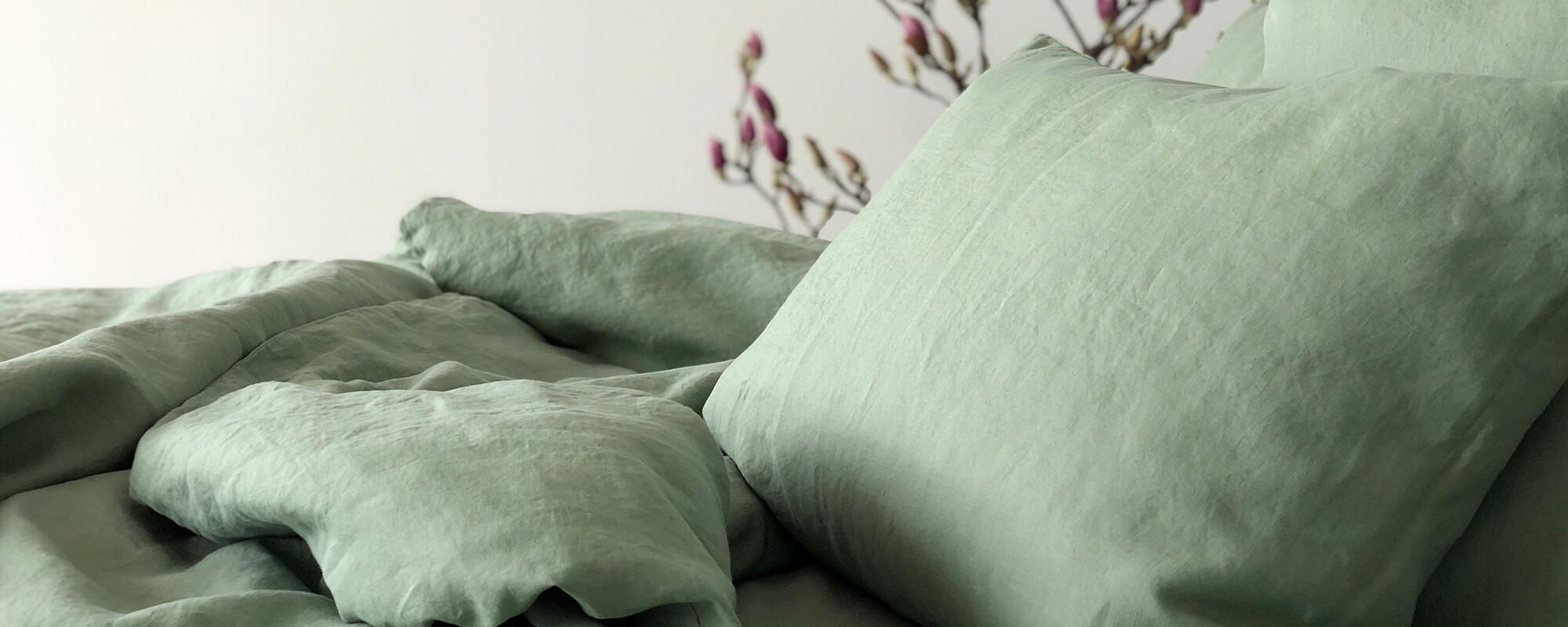 Leinen-Bettwäsche grün