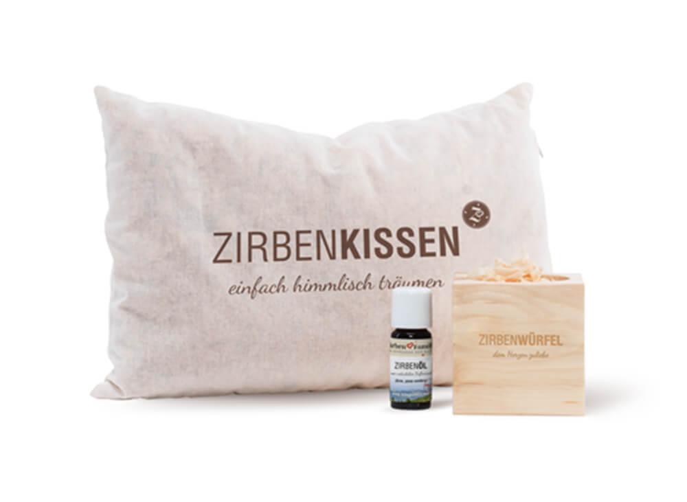 Zirben-Produkte (Zirbenkissen, Zirbenöl, Zirbenwürfel)